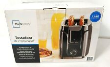 Main Stay 2 Slice Toaster 6 Setting Black Wide Slots New
