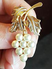 Vintage Joyería Perla De Oro De Vid recargado Damasquinados Broche Pin Chal De Encaje