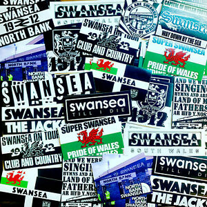 100 x Swansea City Stickers based on Shirt Jacks Army Welsh Flag Poster Cap Hat