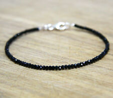 Diamond Look Natural Black Spinel Stacking Bangle Bracelet Solid Sterling Silver