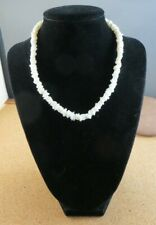 "Bead Surfer 15"" Choker Necklace #505 Vintage White Flat Square Stone Puka Shell"