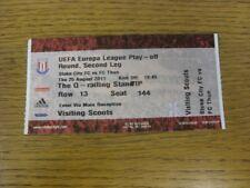 25/08/2011 BIGLIETTO: Stoke City V FC THUN [UEFA EUROPA LEAGUE] (completo). bobfran