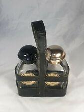Hermès Etui 2 flacons d'Eaux d' Hermès Années 50 en cuir noir.