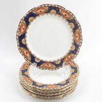 "9 Antique Art Deco Royal Albert Crown China Fine Bone 7.5"" Dessert Plates 6550"