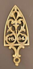 1894 Antique Casting Brass Trivet Hot Iron Stand 3 Legs Perforated Monogram Top