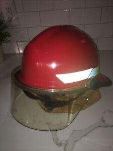 "Bullard Fire fighter Helmet RED w/ shield/chin strap sz 6 1/2"" to 8 Free Ship"