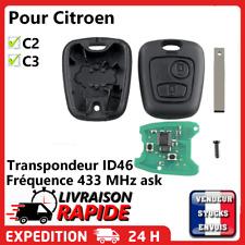Clé vierge+ électronique à programmer pour Citroën C2 C3 Phase 1 Avant 2005