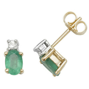 9ct Yellow Gold Oval Shaped Emerald and Diamond Stud Earrings