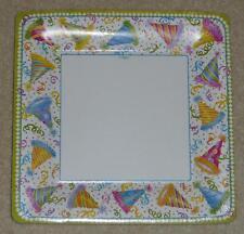 "CASPARI 8 Square Birthday Dinner Plates HATS OFF 25.4 cm / 10"" Made in USA NEW!!"