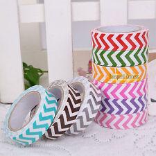 Fabric Chevron Adhesive Tape Masking Washi Paper Sticker Sticky Decorative DIY