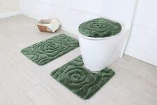 Hotel Collection 3 Piece Premium Prestige Bath rug set 100% Polyester (Sage)