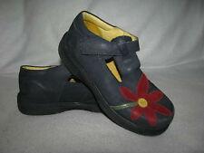 Elefanten Girls Navy Blue Nubuck Red Flower Mary Jane T Strap Shoes Loafers