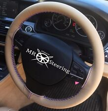 FOR FORD MUSTANG COUGAR BEIGE LEATHER STEERING WHEEL COVER 67+ R BLUE DOUBLE STT