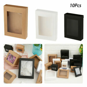 10Pcs DIY Vintage Kraft Paper Gift Box Cake Candy Package with Clear PVC Window