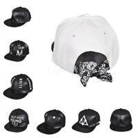 Men Women Adjustable Hip-Hop Snapback Cap Leather Flat Visor Baseball Hat Cap L