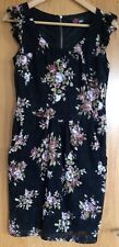 BLACK DRESS MINI LENGHT YUMI LADIES WOMEN SUMMER CAP SLEEVES FLOWERY