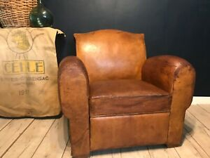 Rare French leather club chair/bed
