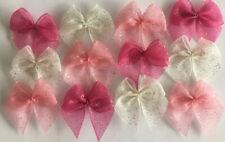 "7//8/"" Antique Pink Satin Mini Ribbon Bows w//Rhinestone-30 pcs-R0063M W"