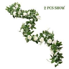 2x Artificial Rose Garland Silk Flower Vine Ivy Wedding Garden Floral Décor 8ft