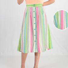 1950's Vintage Striped Button Front A Line Skirt Pastel Green & Pink Preppy Xs 2