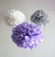 18x lilac grey white paper pom pom wedding birthday party babyshower venue decor