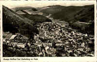 Bad Lauterberg im Harz Niedersachsen s/w Postkarte ~1950/60 Panorma Echtfoto-AK