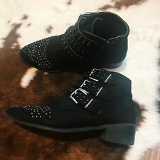 New Look Black Suede Wide Fit Studded Western Ankle Boots Size 7