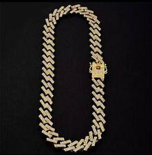 Mens Gold Cuban Belcher Chain Choker Fully Iced Out Trapstar CZ Hiphop Bling Rap