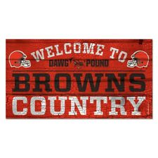 """CLEVELAND BROWNS WELCOME TO BROWNS COUNTRY WOOD SIGN 13""""X24'' NEW WINCRAFT"""