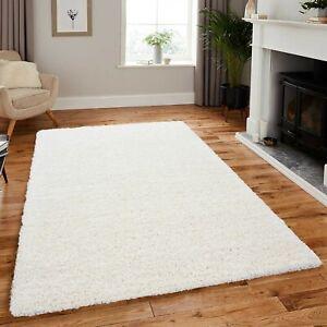 Large Thick Pile Ivory Cream Shaggy Area Rug Hallway Runner Nonslip Room Carpet