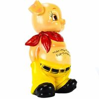 "Vintage Piggy Bank Hampshire Coin Bank Plastic 10"" Hong Kong Yellow Rare"