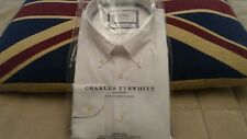 Charles Tyrwhitt Men's White Non Iron Shirt 17.5 Inch Button Down Collar