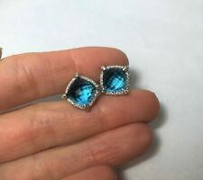 Sterling Silver Blue Topaz Chatelaine Diamond Bezel Earrings by David Yurman
