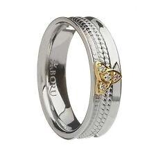 IRISH STERLING SILVER 10K Trinity Knot Ring CZs Made in Ireland BORU