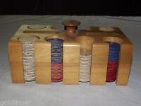 VINTAGE 1950S-60S  POKER CHIPS IN WOOD CARD  HOLDER CADDY