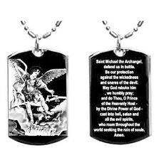 Military Dog Tag Metal Chain Necklace Arch Angel Michael Prayer Double Sided New