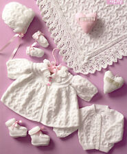 """Premature Baby/Reborn - 9""""- 12""""  Coat Cardy Bootees Bonnet  Mitts Shawl To Knit"""