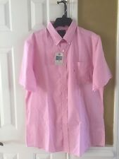 NWT Sport Shirt Saddlebred SS Big and Tall Pink Plaid Easy Care Mens New XL