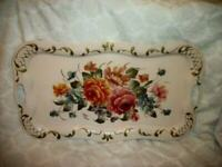 VINTAGE PINK HP ROSES FLOWERS TOLE TRAY HANDLES GOLD FRENCH FARMHOUSE LARGE