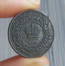 1861 Nova Scotia Half Cent Canada copper coin