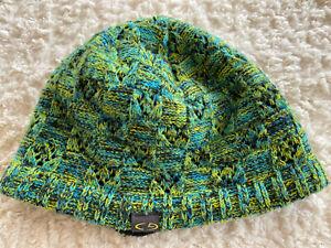 Champion Boys Blue Green Knit Beanie Black Fleece Lined Winter Hat One Size