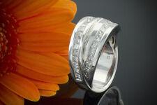 Schmuck Laudier Ring mit Carré Diamanten 1,52 Ct Massiv 750er Weißgold 18 Karat