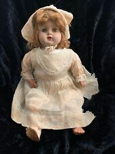 "22"" Vintage Hard Plastic & cloth Baby doll All orig dress 1940's Needs TLC"