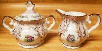 Vintage China Porcelain Creamer Sugar Bowl Dish Set Made In Italty Ornate Floral