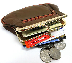 3pc Lot Genuine Lambskin Leather Double Snap Two Zipper Coin Purse Black Red Tan