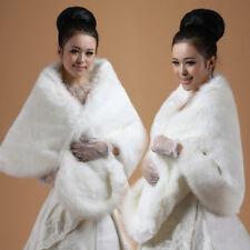 High-grade Elegant Bridal Wedding Faux Fur Long Shawl Stole Wrap Shrug Scarf USA
