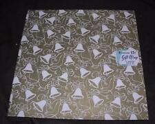 VTG 1950S UNUSED PACKAGE DENNISON GIFT WRAP WRAPPING PAPER WHITE BELLS ON GOLD
