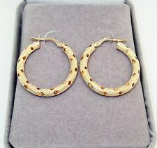 Oro amarillo macizo 9CT caracteriza con textura & Diamante Corte 25MM Redondo Aro pendientes