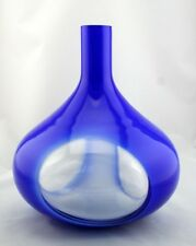 "New 14"" Hand Blown Art Glass Teardrop Vase Blue White Clear Decorative"