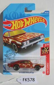 Hot wheels Flames 69 Dodge Charger 500 Red 8/10 FNQHotwheels FK578